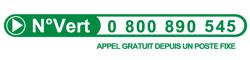 Numéro vert : 0 800 890 545 (appel gratuit depuis un poste fixe)